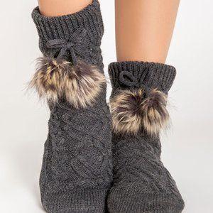 PJ Salvage Aspen Cable Knit Socks Charcoal O/S
